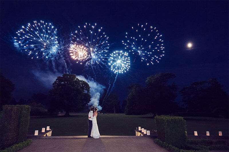 Wedding fireworks at Ashridge House
